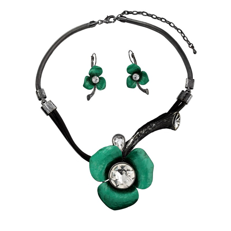 crystal flower jewelry set, fashion, floral and flower