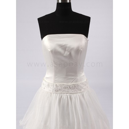 a line chiffon gorgeous strapless brush train wedding dress
