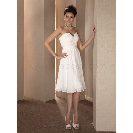 a line chiffon knee length sweetheart wedding dress