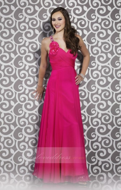 a-line one shoulder floor length watermelon chiffon prom dress