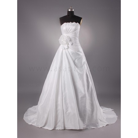 a line satin gorgeous  strapless chapel train wedding dress
