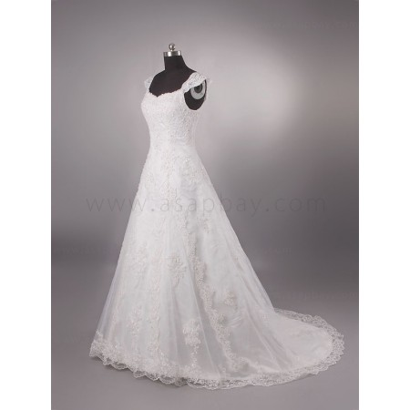 a line square elegant lace high quality  brush train wedding dress