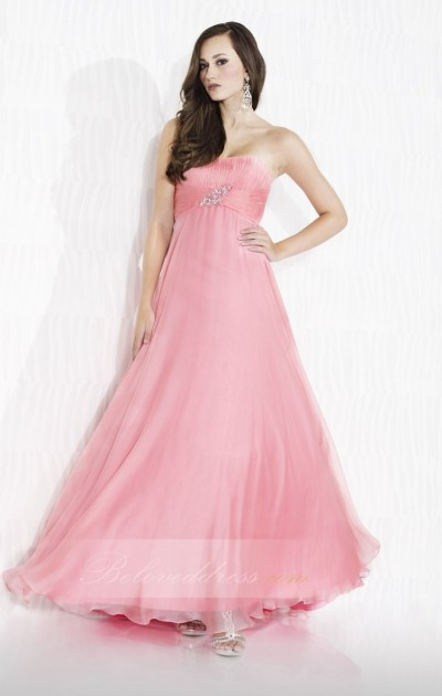 a-line strapless floor length chiffon prom dress