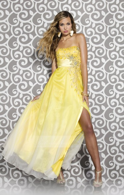 a-line strapless floor length ombre prom dress