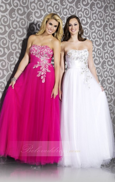 a-line strapless floor length solid net prom dress