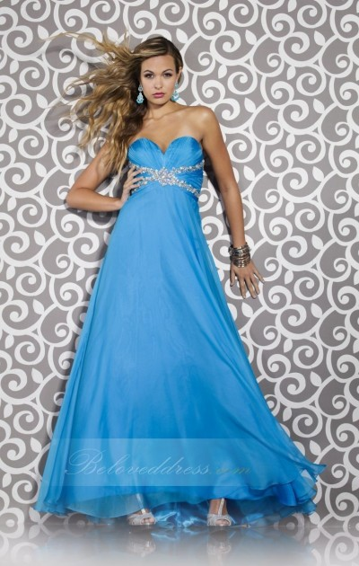 a-line sweetheart floor length ocean blue chiffon prom dress