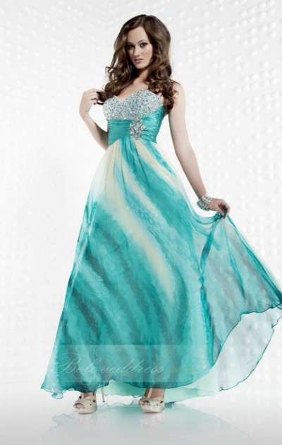 a-line sweetheart floor length poly print prom dress