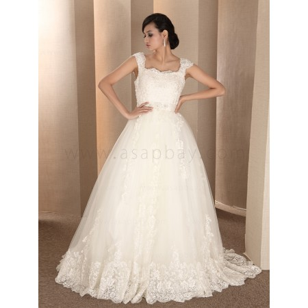 a line unique elegant lace ivory chapel train square wedding dress