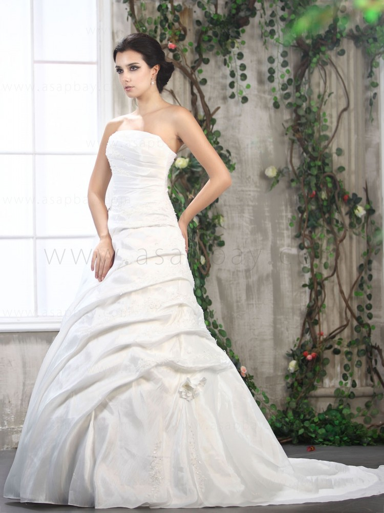 adorable amazing ruched a-line wedding dress strapless beading court train