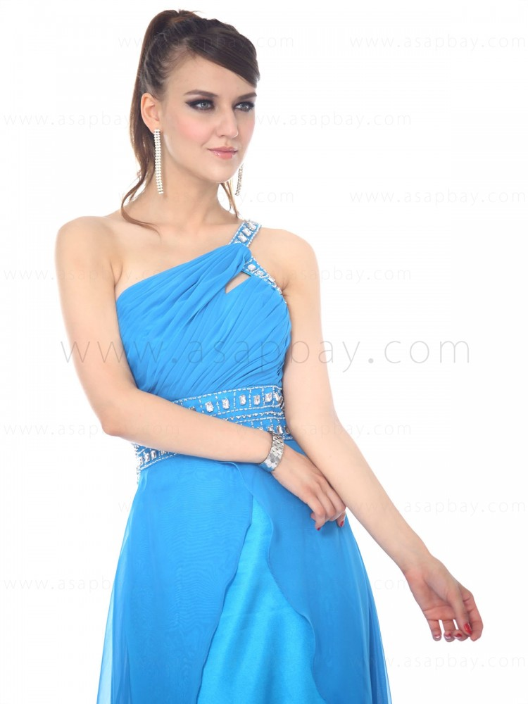 adorable amazing slit chiffon beading one shoulder court train sheath/column blue evening dress