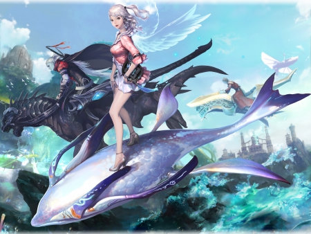 aion, anime girl, cool, dragon