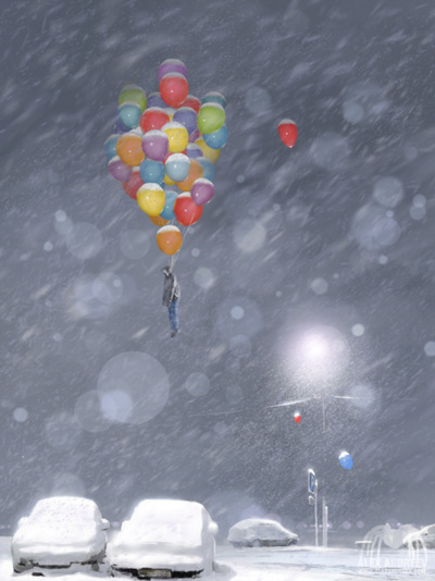 alex andreyev, art, balloons, beautiful, couple, cute, fashion, hair, photography, pretty