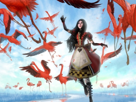 alice, bird, girl, red dress