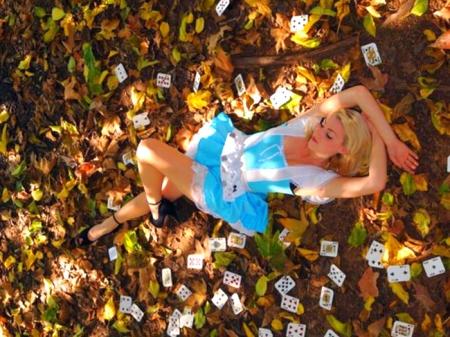 alice, blonde, blue, cards