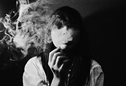 alone, black and white, cigarette, cute, girl