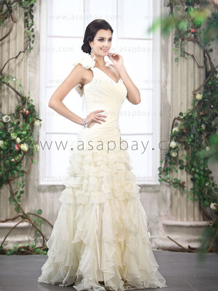 amazing awesome tulle dropped one shoulder floor length sheath/column wedding dress ruched tiered flower