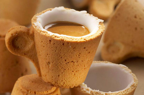 an edible cookie coffee cup, coffee, edible