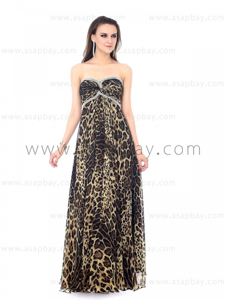 animal printed girl fashion cute beaded floor length sheath/column evening dress