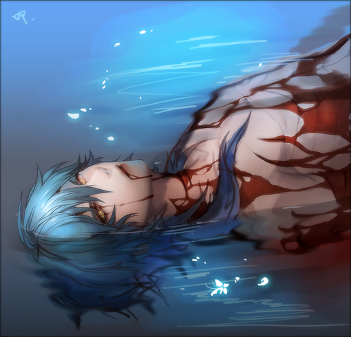 anime, blood, boy, death, gore, water, dramatical murder, aoba seragaki, aoba, bad ending