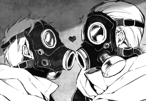 anime, couple, gas mask, love