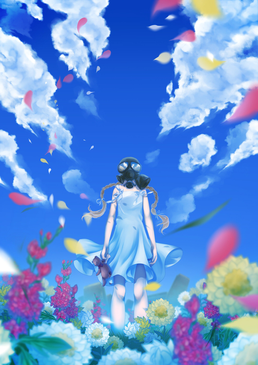 anime, girl, gas mask, flowers, sky
