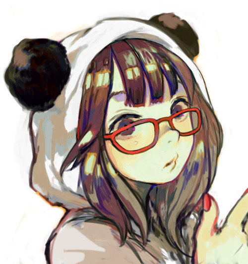 anime, girl, panda suit, glasses