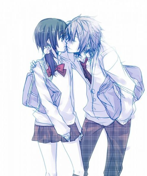 anime, kiss, love, cute