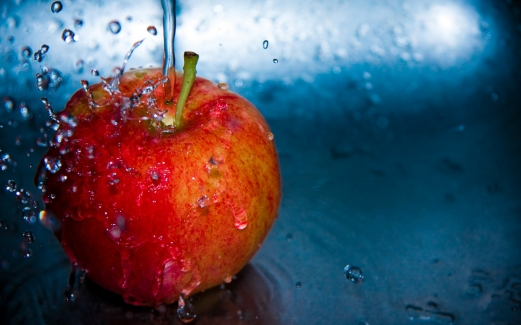apple, the water, droplets