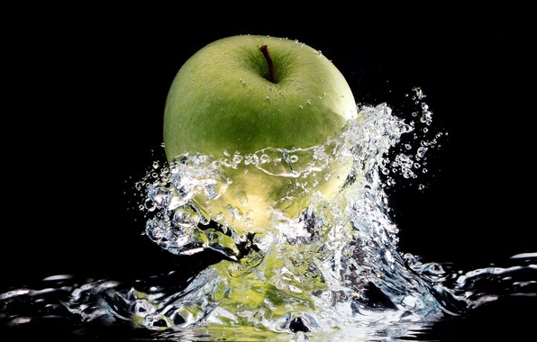 apple, dripping, water drops