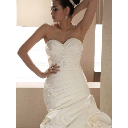 appliques beautiful satin ivory sweep/brush train sweetheart trumpet/mermaid wedding dress