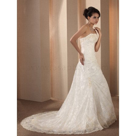 appliques classy dream lace ivory sweep/brush train strapless trumpet/mermaid wedding dress