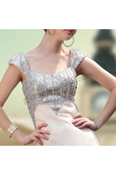 apricot cap-sleeve sequins chiffon formal evening dress s635