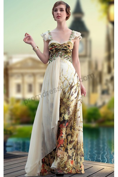 apricot print cap-sleeve sweetheart tencel prom ball gown s646