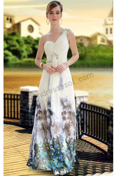 apricot print one-shoulder sweetheart chiffon evening ball gown s642