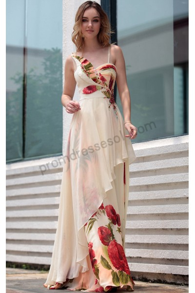 apricot print spaghetti-strap sequins ruched chiffon evening ball gown s647