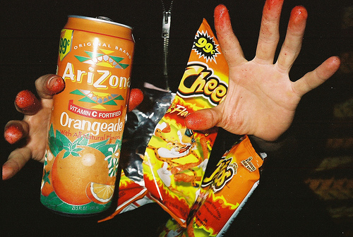 arizona, arizona tea, cheetos, food, hot