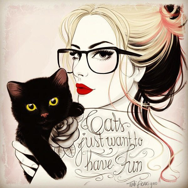 art, cats, glasses, illustration, red lips, tattoo