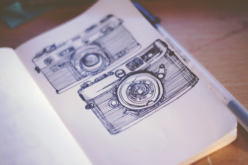 art, beautiful, book, camera, cameras, couple, cute, drawing, fashion, hair, photography, pretty, sketch