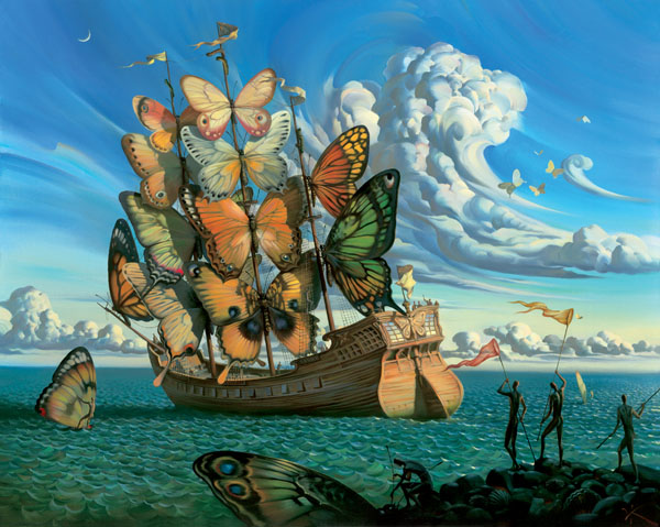 art, butterfly, sea, ship, water
