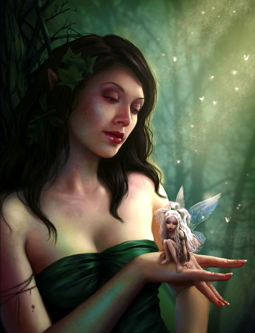 art, cool, fairy, girl, nymph, painting, wings, wood