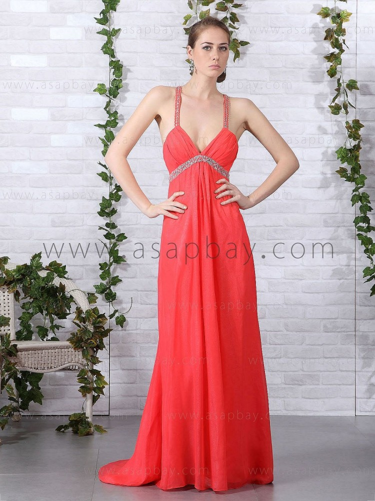 asapbay amazing awesome chiffon spaghetti strap court train red a line evening dress