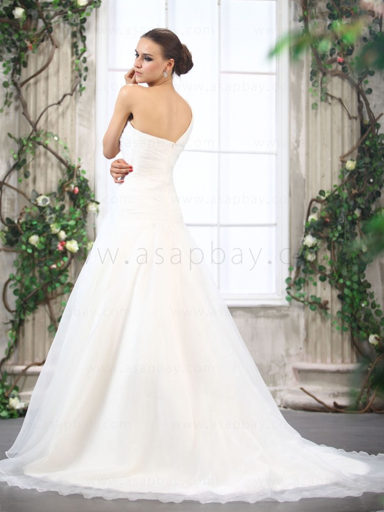 asapbay beading cute one shoulder a-line wedding dress with ruched bodice and court train beading zipper back ivory