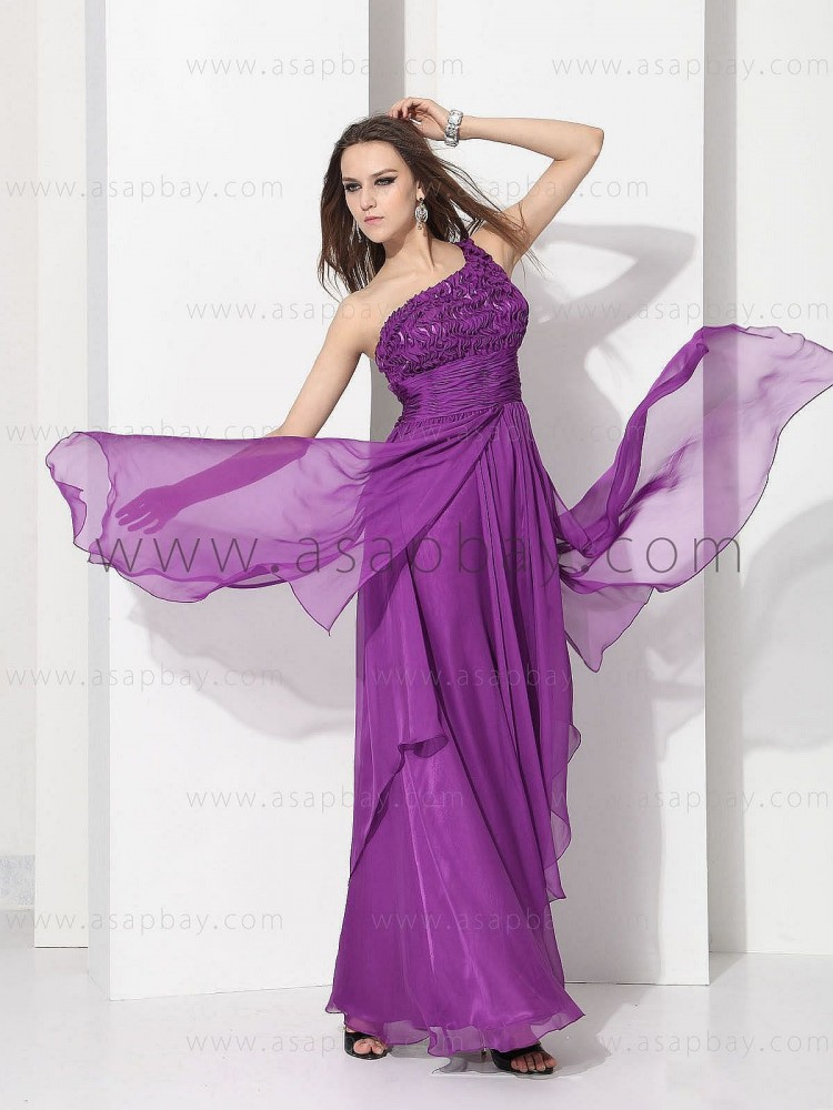 asapbay classy dream exquisite elegant chiffon one shoulder floor length graduation dress