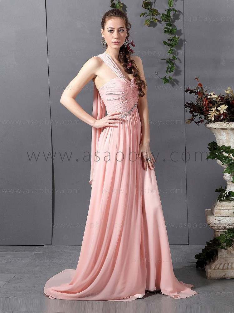 asapbay elegant crystal chiffon pink court train one shoulder a line chiffon evening dress