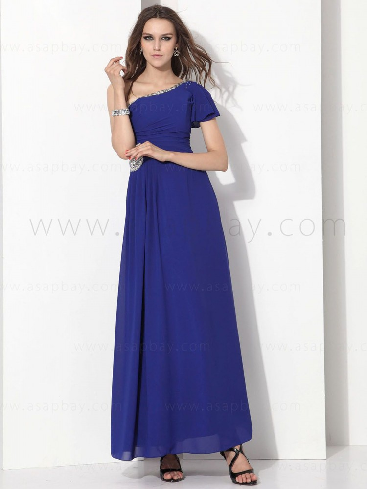 asapbay fashion gorgeous beading chiffon one shoulder floor length graduation dress