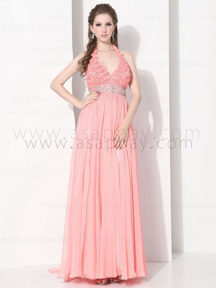 asapbay fashion pink luxury beading ruched chiffon halter floor length pageant dress