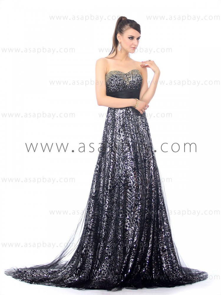 asapbay luxury beading tulle sweetheart court train sheath/column black evening dress