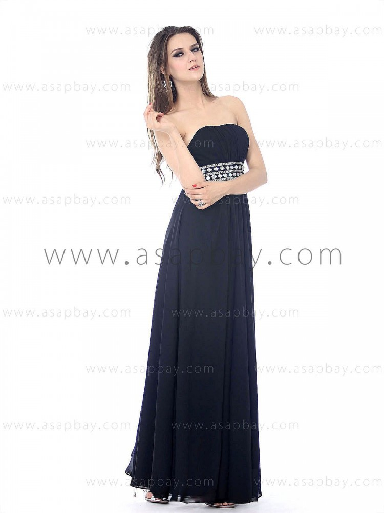 asapbay luxury draped chiffon crystal strapless floor length dark blue sheath/column evening dress