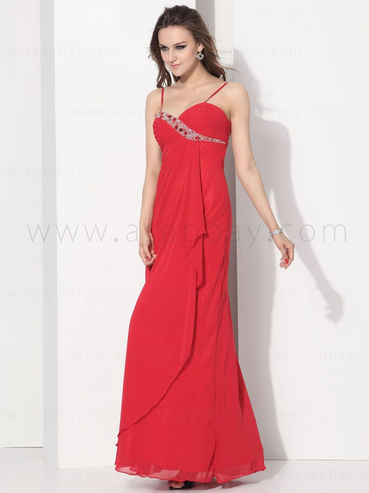 asapbay luxury gorgeous elegt chiffon spaghetti strap floor length pageant dress