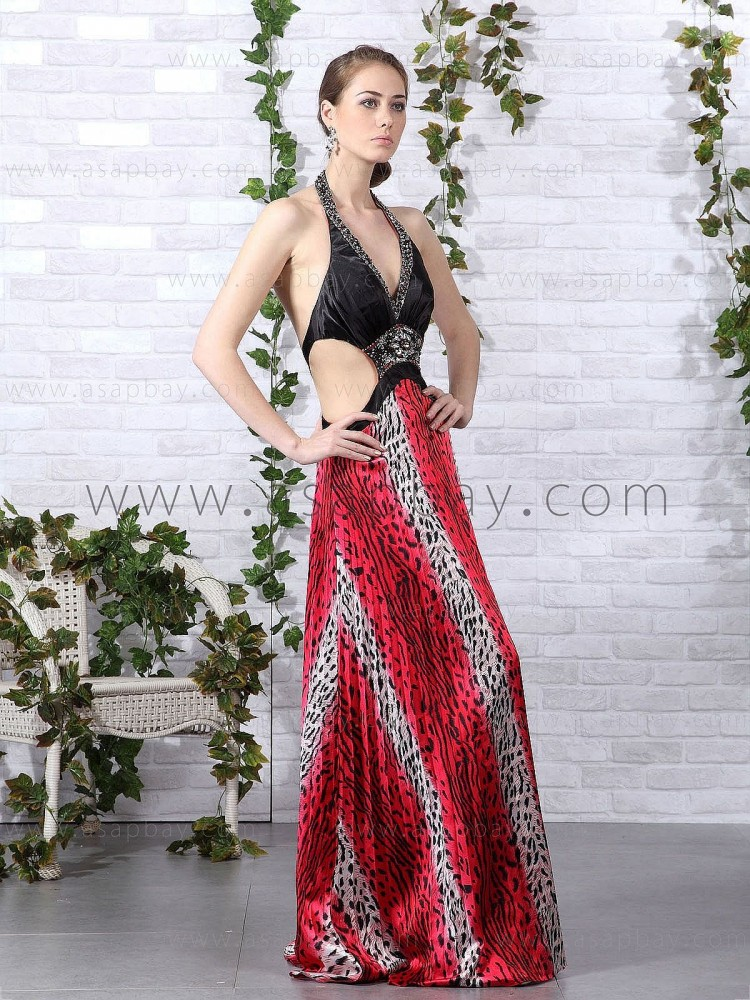 asapbay sexy classy beading stunning red halter floor length a line evening dress